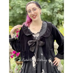 reversible jacket ROBINSON black velvet and black cotton with flowers lining Les Ours - 1