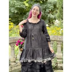 robe LIBERTINE lin noir et volant en voile de coton à carreaux Les Ours - 1