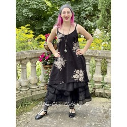 dress LEA black cotton voile with flowers Les Ours - 1