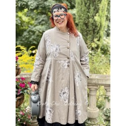 coat LUCIENNE taupe poplin with flowers Les Ours - 1