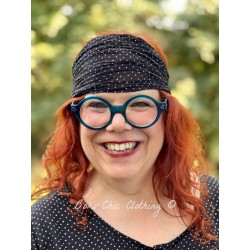 headband CELESTE black cotton voile with small white dots Les Ours - 1