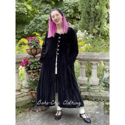 reversible coat LOUNA black velvet and black cotton with flowers lining Les Ours - 1