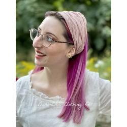 headband CELESTE pink striped cotton voile