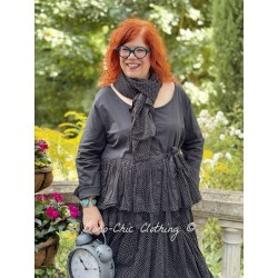 jacket MELISSA black poplin and black cotton voile with small white dots ruffles Les Ours - 4