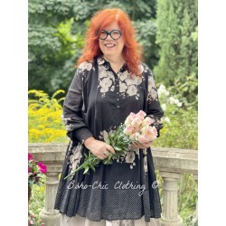 dress SIMONETTE black cotton voile with flowers and small white dots Les Ours - 1