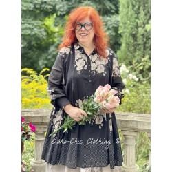 robe SIMONETTE voile de coton noir à fleurs et petits pois blancs Les Ours - 1