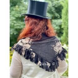 triangle MALOE voile de coton noir à fleurs Les Ours - 1