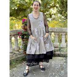 dress JULIA taupe poplin with flowers Les Ours - 1