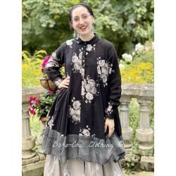dress SIMONETTE black cotton voile with flowers and checks Les Ours - 1