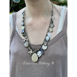Necklace White Charm in Fossilized Coral DKM Jewelry - 1