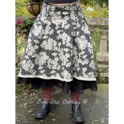 jupe 22116 coton Noir à fleurs Ewa i Walla - 1