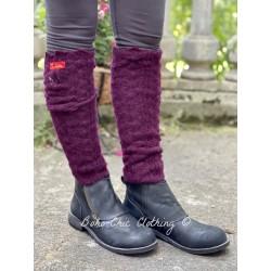 Leg warmers 77522 Aubergine knitted alpaca