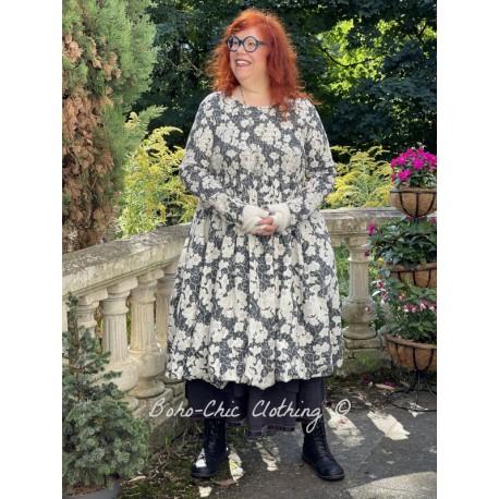 robe 55715 coton Noir à fleurs Ewa i Walla - 1