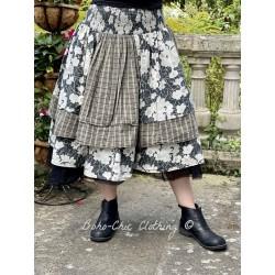 jupe 22115 coton Noir à fleurs Ewa i Walla - 1