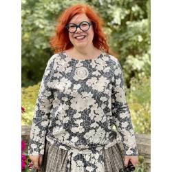 blouse 44798 Flower cotton black