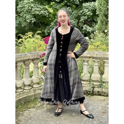 reversible coat LOUNA black velvet and checked cotton lining Les Ours - 1
