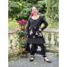 veste MELISSA popeline noire et volants en voile de coton noir à fleurs Les Ours - 8