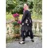 veste MELISSA popeline noire et volants en voile de coton noir à fleurs Les Ours - 9