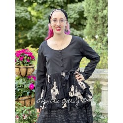 jacket MELISSA black poplin and black cotton voile with flowers ruffles Les Ours - 1