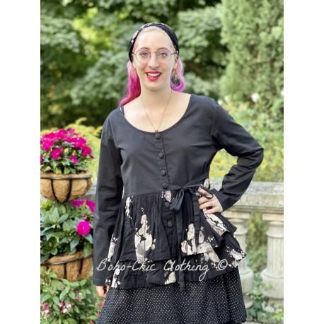 veste MELISSA popeline noire et volants en voile de coton noir à fleurs Les Ours - 1