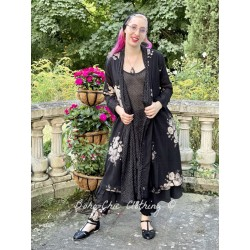 long jacket CAPUCINE black cotton voile with flowers and small white dots Les Ours - 1