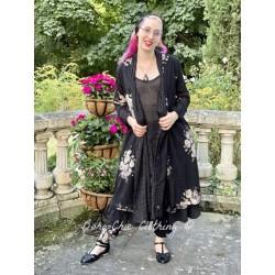 veste longue CAPUCINE voile de coton noir à fleurs et petits pois blancs Les Ours - 1