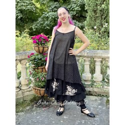 dress LEA black cotton voile with small white dots