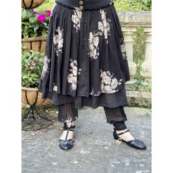 skirt ANEMONE black poplin and ruffle in black cotton voile with flowers Les Ours - 1