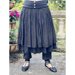 skirt ANEMONE black poplin and ruffle in black cotton voile with small white dots Les Ours - 1