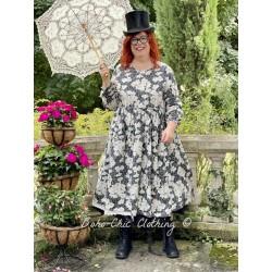 robe 55716 coton Noir à fleurs Ewa i Walla - 1