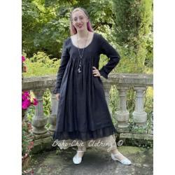 dress VIOLETTE black linen and black organza ruffle Les Ours - 1