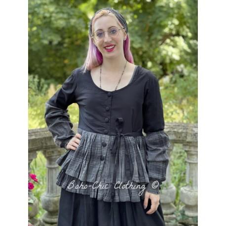 veste MELISSA popeline noire et volants en voile de coton à carreaux Les Ours - 1