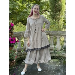 dress LIBERTINE taupe cotton and checked ruffle Les Ours - 1
