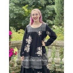 tunic BLANDINE black cotton voile with flowers and checks Les Ours - 1