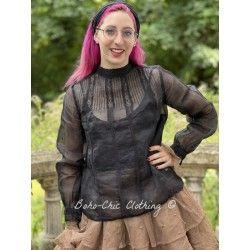 blouse 44803 Vintage black organdie Ewa i Walla - 1