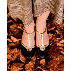 chaussures Venezia Noir et Or Charlie Stone - 1